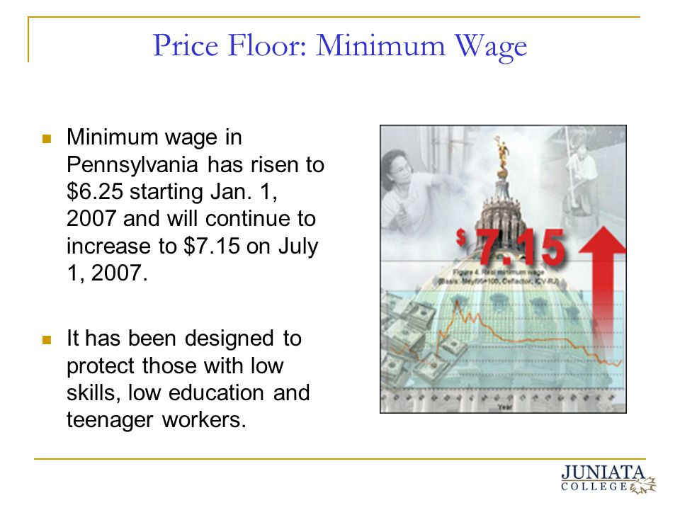 Price Floor: Minimum Wage Minimum wage in Pennsylvania has risen to $6.25 starting Jan. 1, 2007 and will continue to increase to $7.15 on July 1, 2007