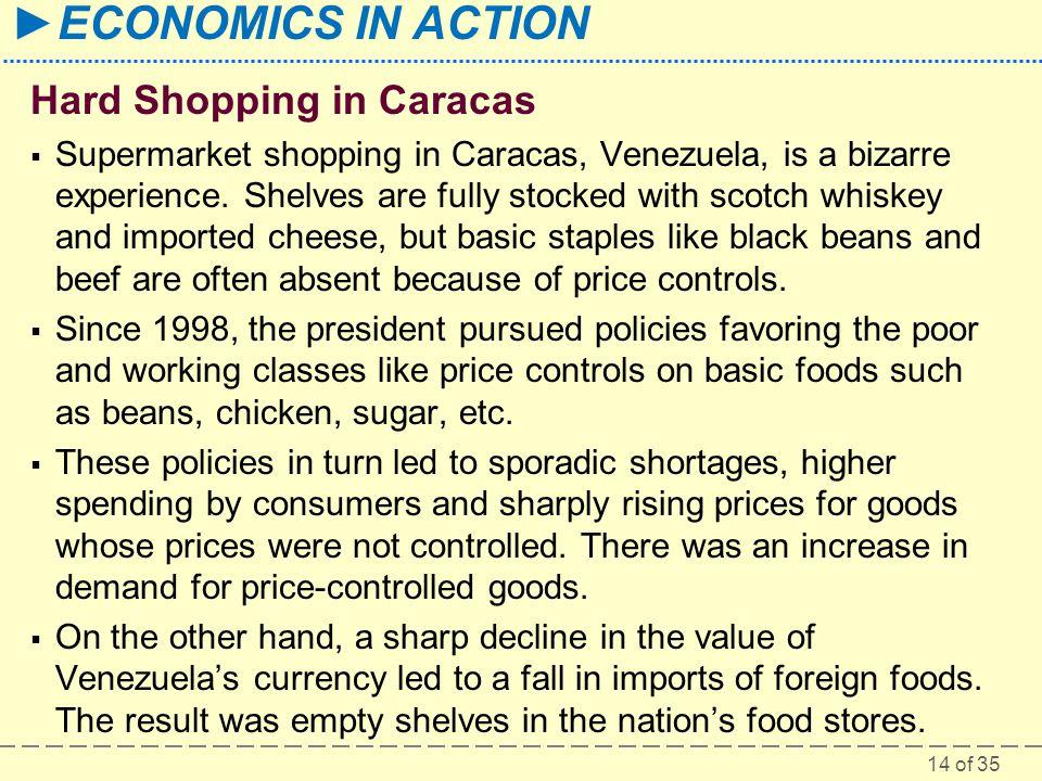 14 of 35 ECONOMICS IN ACTION Hard Shopping in Caracas Supermarket shopping in Caracas, Venezuela, is a bizarre experience.