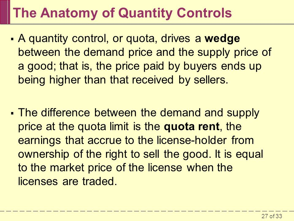 27 of 33 The Anatomy of Quantity Controls A quantity control, or quota, drives a wedge between the demand price and the supply price of a good; that is, the price paid by buyers ends up being higher than that received by sellers.
