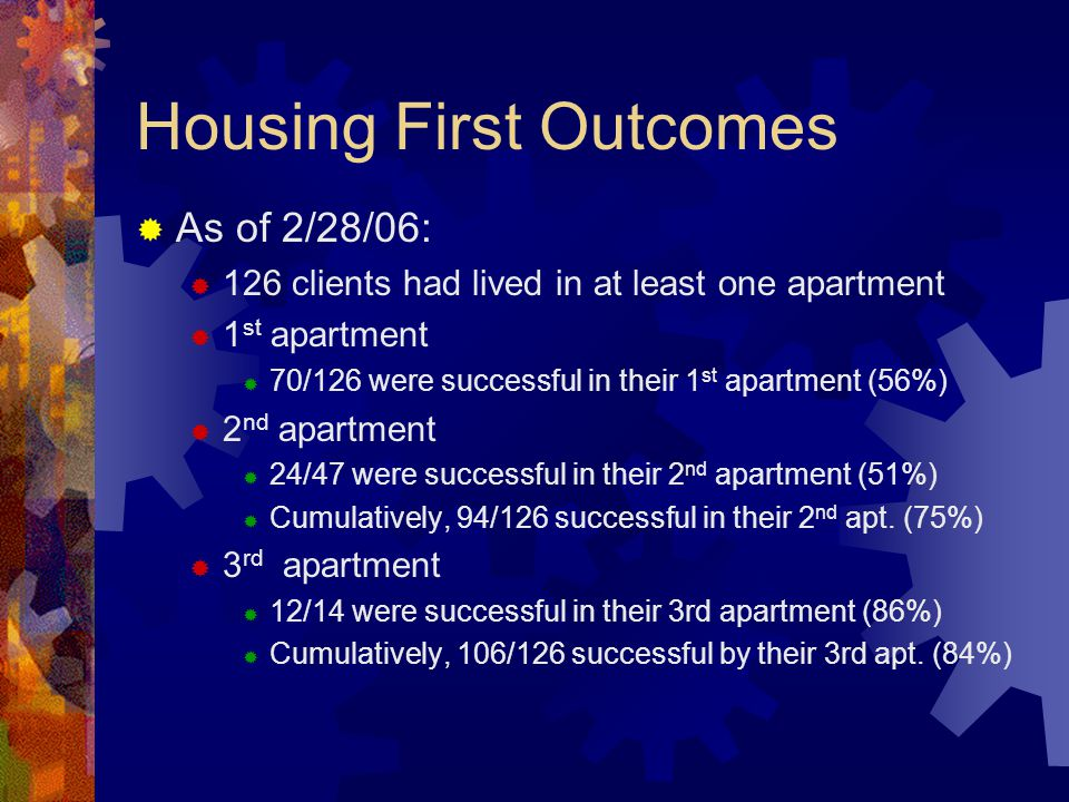Housing First Outcomes As of 2/28/06: 126 clients had lived in at least one apartment 1 st apartment 70/126 were successful in their 1 st apartment (56%) 2 nd apartment 24/47 were successful in their 2 nd apartment (51%) Cumulatively, 94/126 successful in their 2 nd apt.