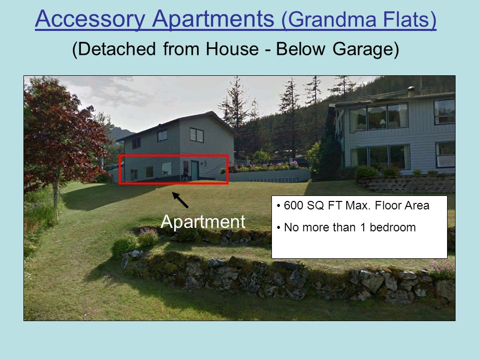 Accessory Apartments continued… (Attached to House) Basement Apartment 600 SQ FT Max.