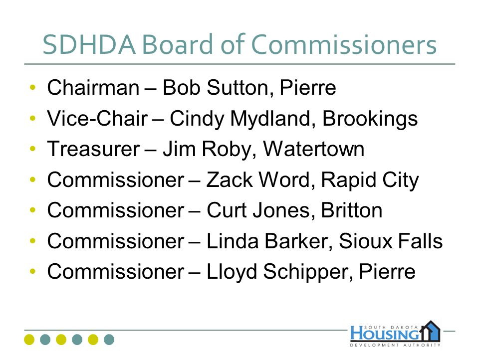 SDHDA Departments and Staff Executive – 3 staff Finance and Administration – 9 staff Homeownership – 9 staff Rental Housing Development – 5 staff Rental Housing Management – 16 staff Research and Marketing – 1 staff Governors House – 21 staff