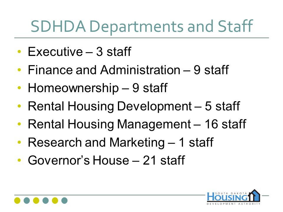 South Dakota Housing Development Authority Professional Organizations and Boards National Council State Housing Agencies National Affordable Housing Management Association State Interagency Council on Homelessness South Dakota Home Builders Association South Dakota Realtors Association South Dakota Bankers Association