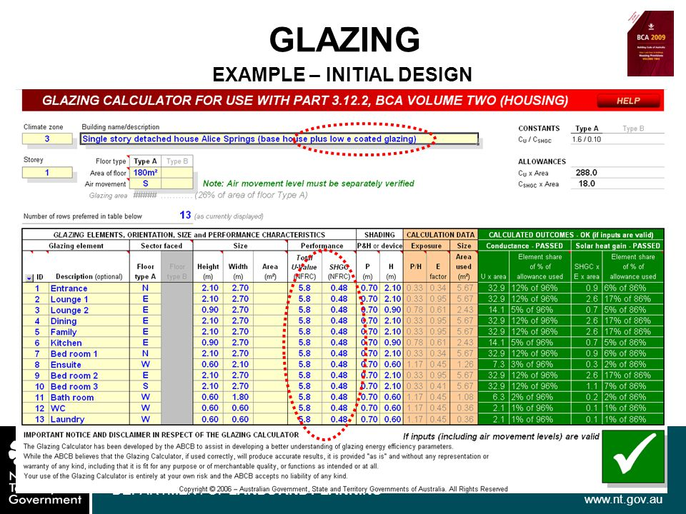 www.nt.gov.au DEPARTMENT OF LANDS AND PLANNING GLAZING EXAMPLE – INITIAL DESIGN