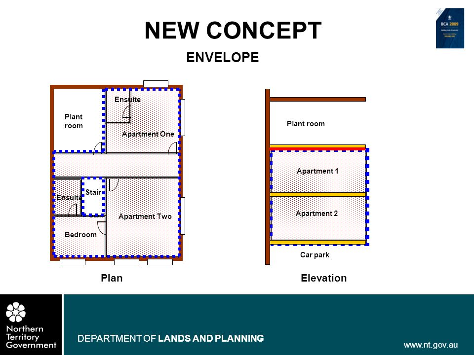 www.nt.gov.au DEPARTMENT OF LANDS AND PLANNING NEW CONCEPT ENVELOPE Plan Plant room Bedroom Apartment Two Ensuite Acc ess stair Apartment One Ensuite