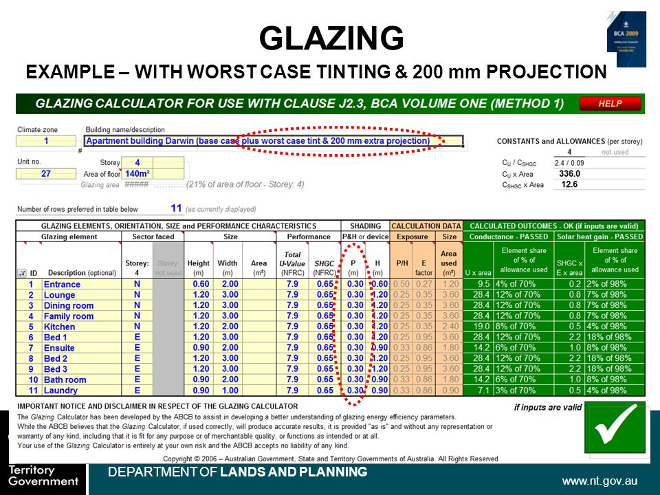 www.nt.gov.au DEPARTMENT OF LANDS AND PLANNING GLAZING EXAMPLE – WITH WORST CASE TINTING & 200 mm PROJECTION