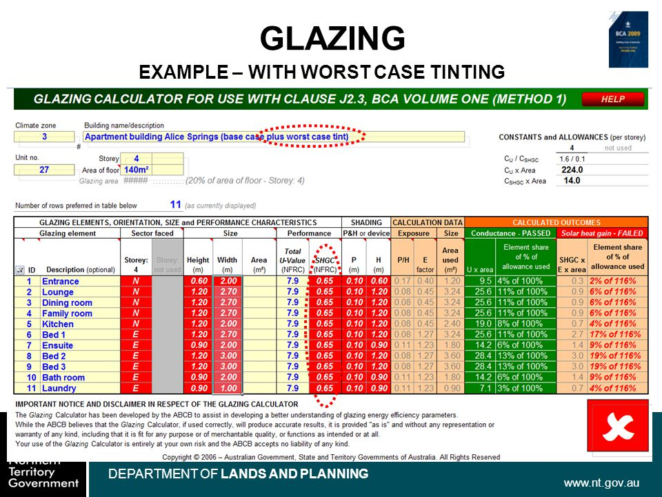 www.nt.gov.au DEPARTMENT OF LANDS AND PLANNING GLAZING EXAMPLE – WITH WORST CASE TINTING