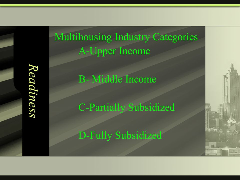 Readiness Multihousing Industry Categories A-Upper Income B- Middle Income C-Partially Subsidized D-Fully Subsidized