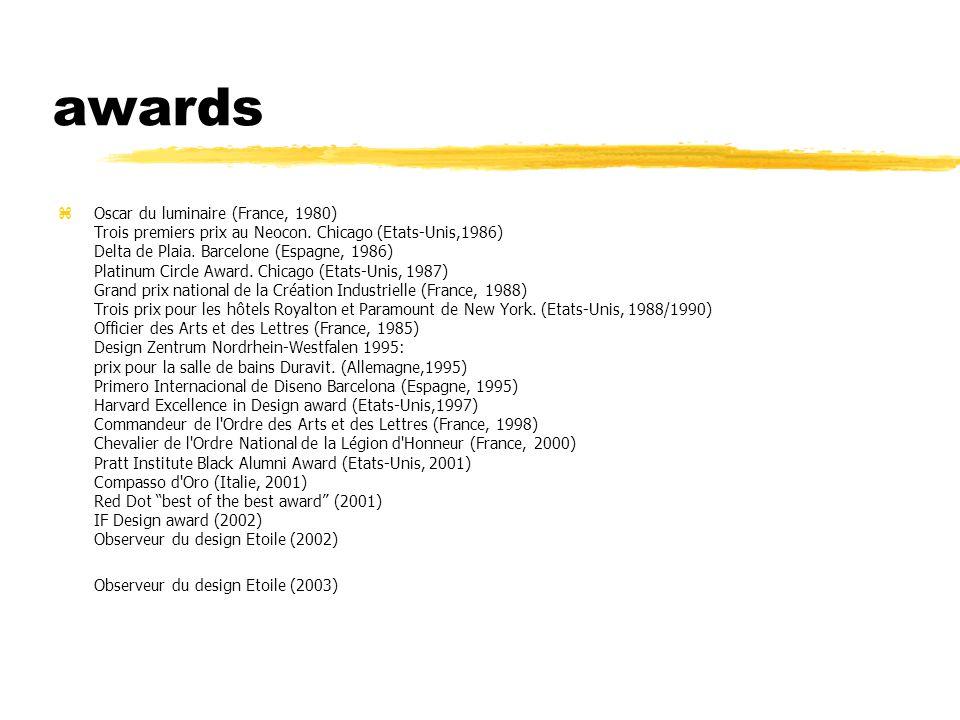 awards zOscar du luminaire (France, 1980) Trois premiers prix au Neocon.