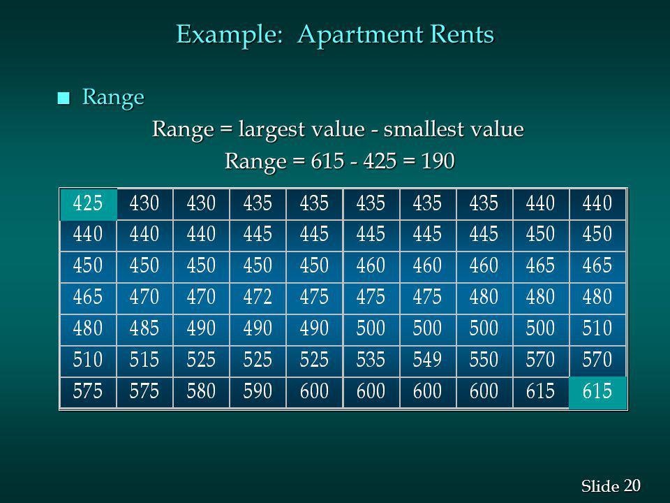 20 Slide Example: Apartment Rents n Range Range = largest value - smallest value Range = largest value - smallest value Range = 615 - 425 = 190 Range = 615 - 425 = 190