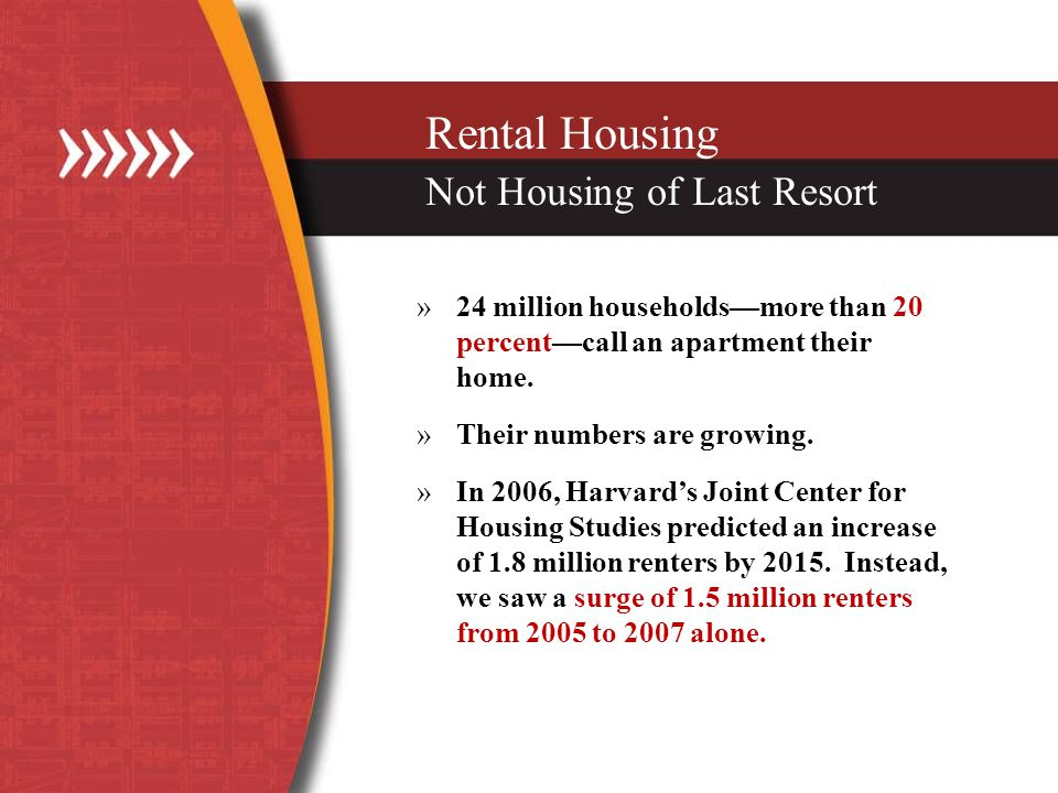 Rental Housing Not Housing of Last Resort »24 million householdsmore than 20 percentcall an apartment their home.