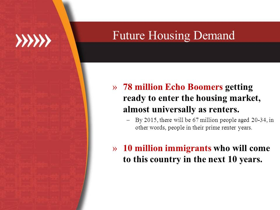 Future Housing Demand »78 million Echo Boomers getting ready to enter the housing market, almost universally as renters.