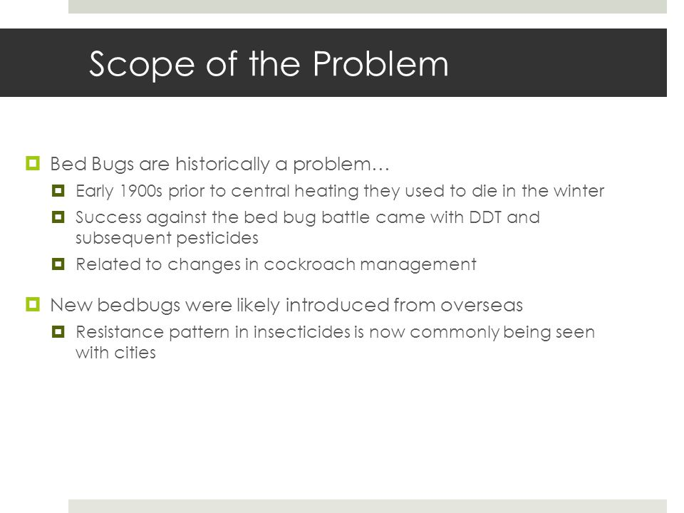 Scope of the Problem Bed Bugs are historically a problem… Early 1900s prior to central heating they used to die in the winter Success against the bed bug battle came with DDT and subsequent pesticides Related to changes in cockroach management New bedbugs were likely introduced from overseas Resistance pattern in insecticides is now commonly being seen with cities