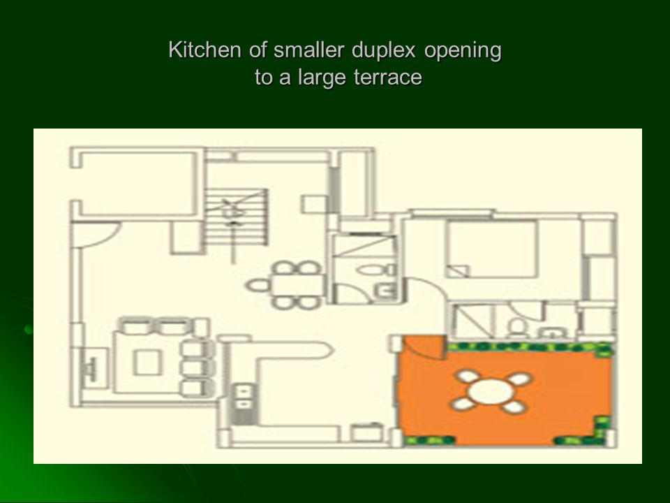 Kitchen of smaller duplex opening to a large terrace