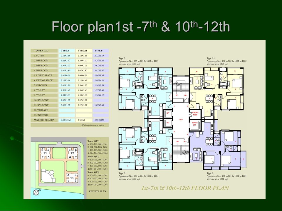 Floor plan1st -7 th & 10 th -12th