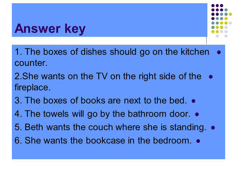 Answer key 1. The boxes of dishes should go on the kitchen counter. 2.She wants on the TV on the right side of the fireplace. 3. The boxes of books ar