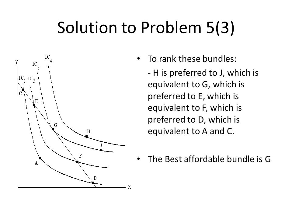 To rank these bundles: - H is preferred to J, which is equivalent to G, which is preferred to E, which is equivalent to F, which is preferred to D, which is equivalent to A and C.