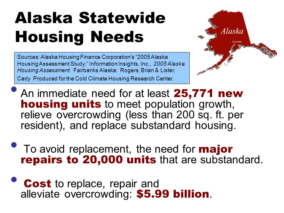 Alaska Statewide Housing Needs An immediate need for at least 25,771 new housing units to meet population growth, relieve overcrowding (less than 200