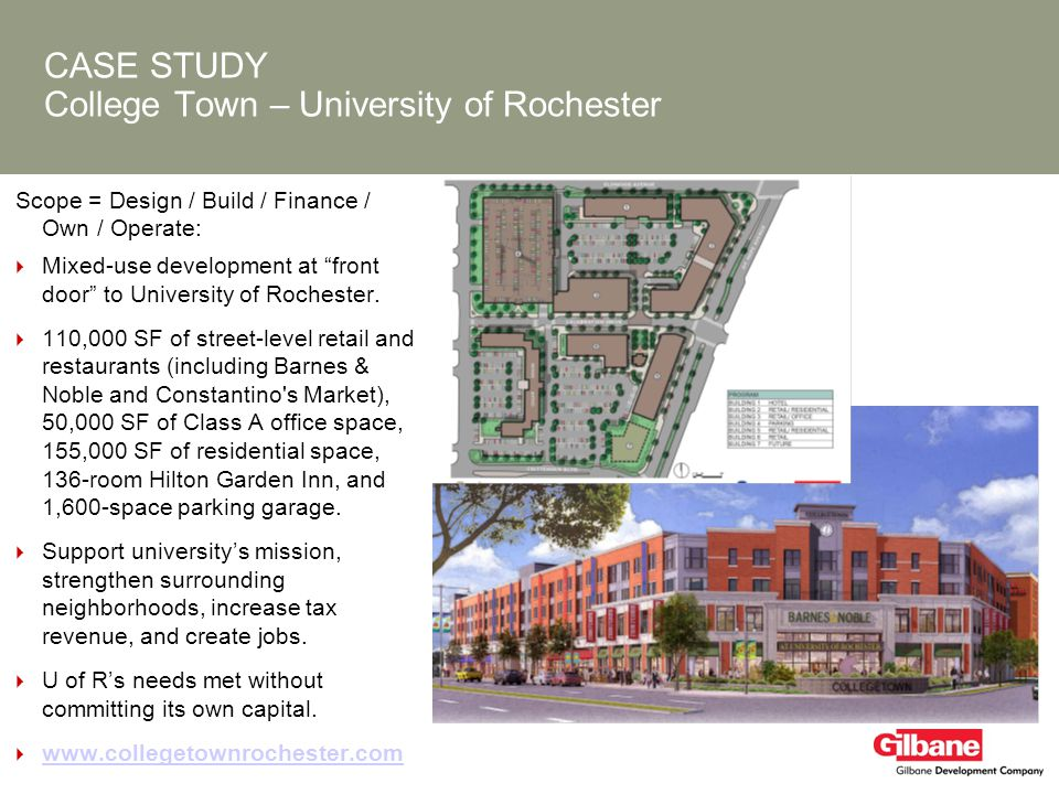 CASE STUDY College Town – University of Rochester Scope = Design / Build / Finance / Own / Operate: Mixed-use development at front door to University