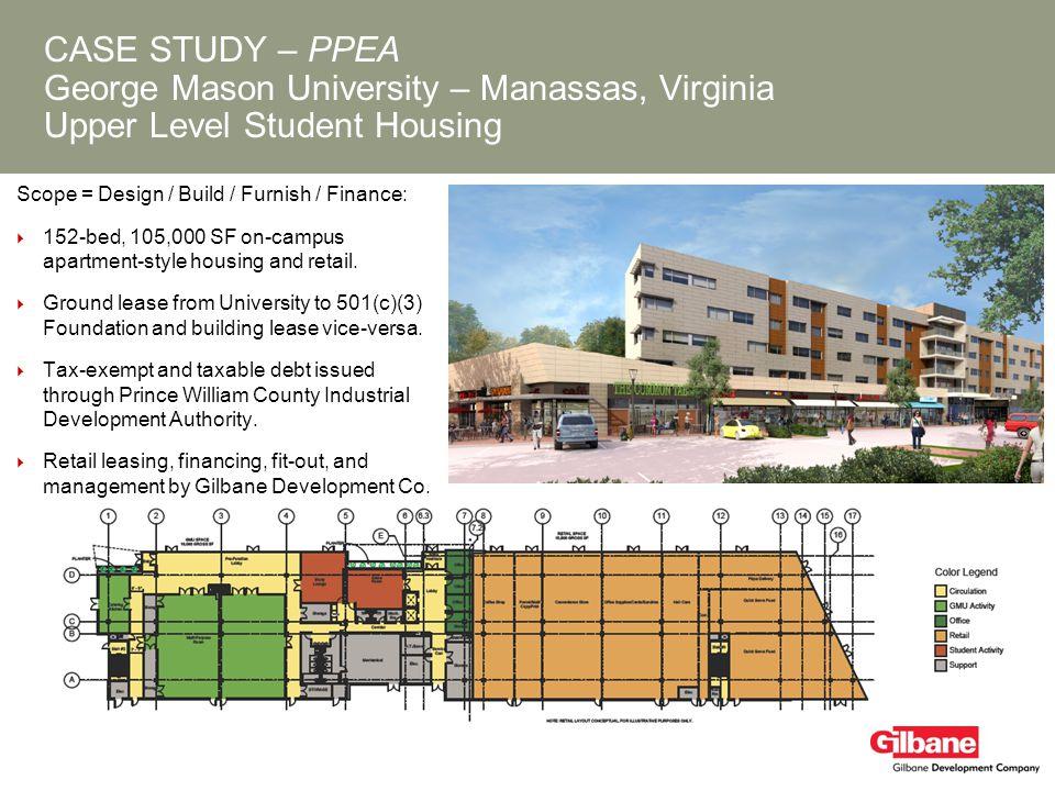 CASE STUDY – PPEA George Mason University – Manassas, Virginia Upper Level Student Housing Scope = Design / Build / Furnish / Finance: 152-bed, 105,00
