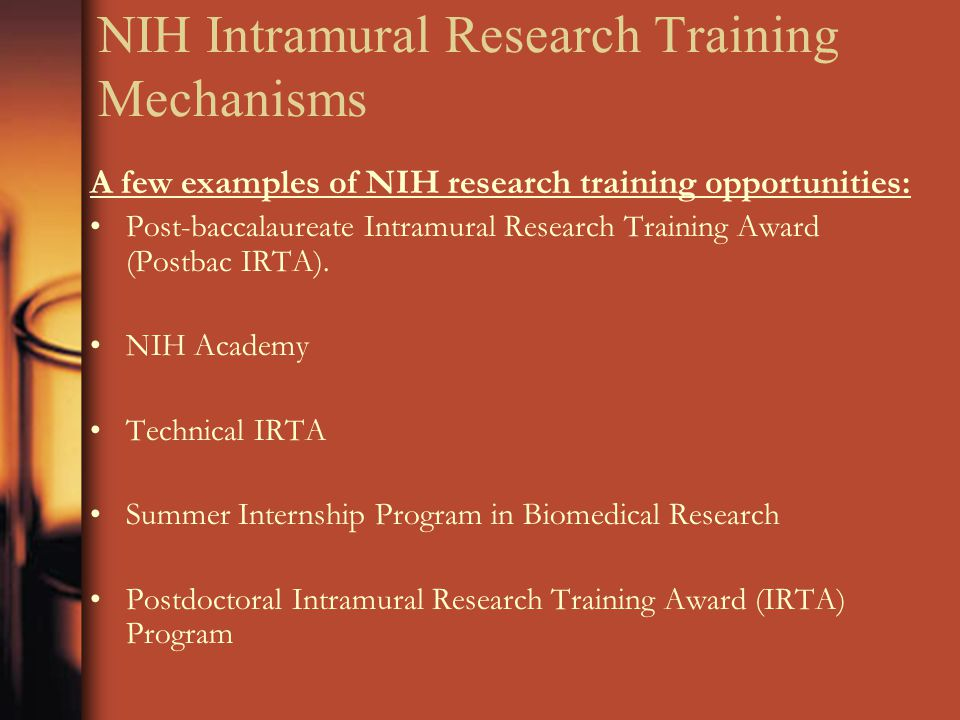NIH Intramural Research Training Mechanisms A few examples of NIH research training opportunities: Post-baccalaureate Intramural Research Training Award (Postbac IRTA).