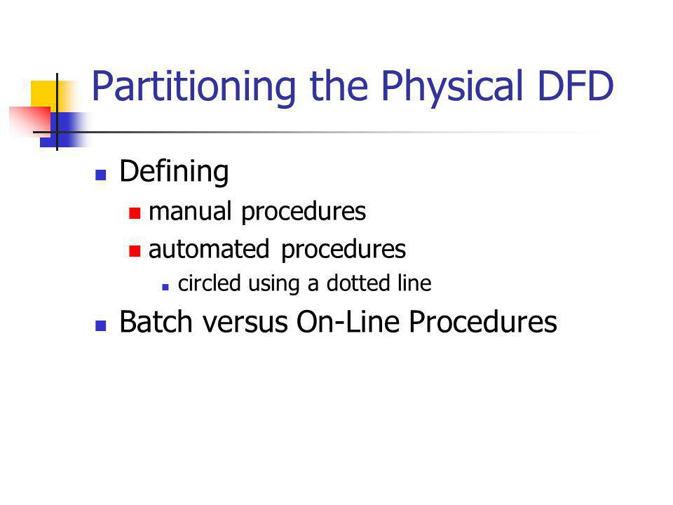 Partitioning the Physical DFD Defining manual procedures automated procedures circled using a dotted line Batch versus On-Line Procedures