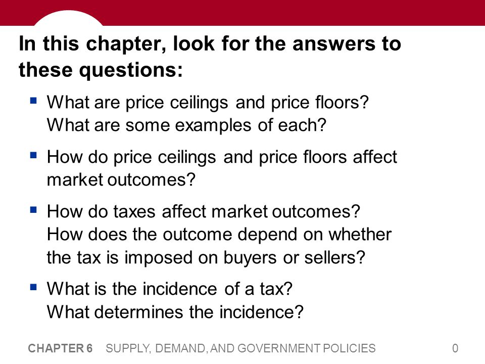0 CHAPTER 6 SUPPLY, DEMAND, AND GOVERNMENT POLICIES In this chapter, look for the answers to these questions: What are price ceilings and price floors