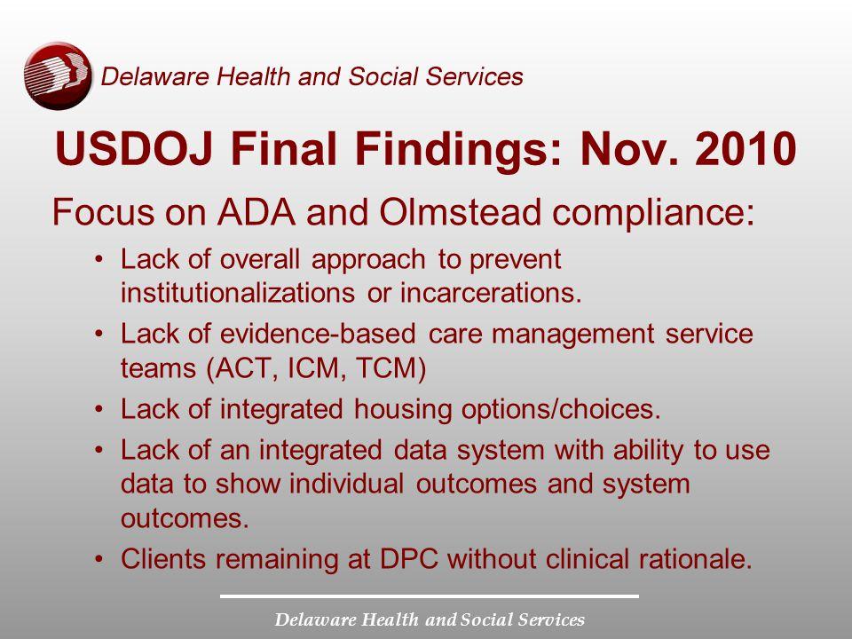 Delaware Health and Social Services USDOJ Final Findings: Nov.