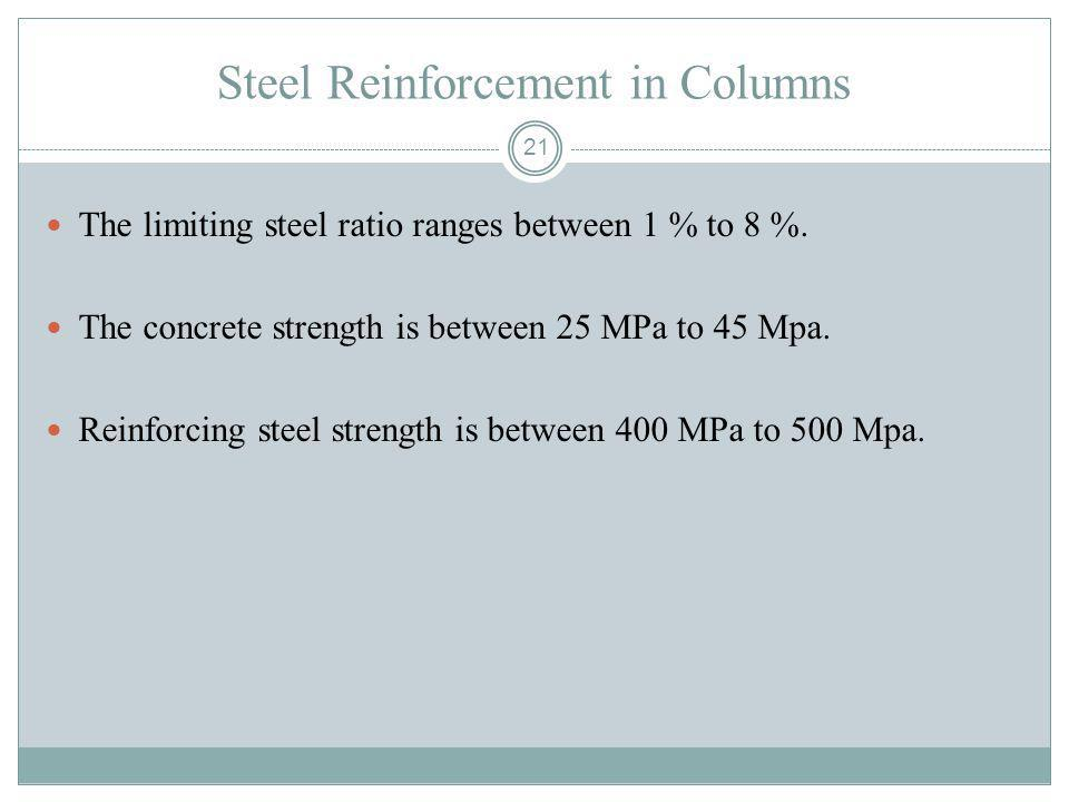 21 Steel Reinforcement in Columns The limiting steel ratio ranges between 1 % to 8 %. The concrete strength is between 25 MPa to 45 Mpa. Reinforcing s