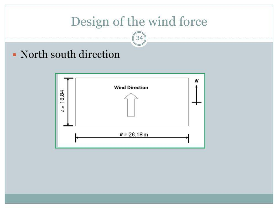 34 Design of the wind force North south direction