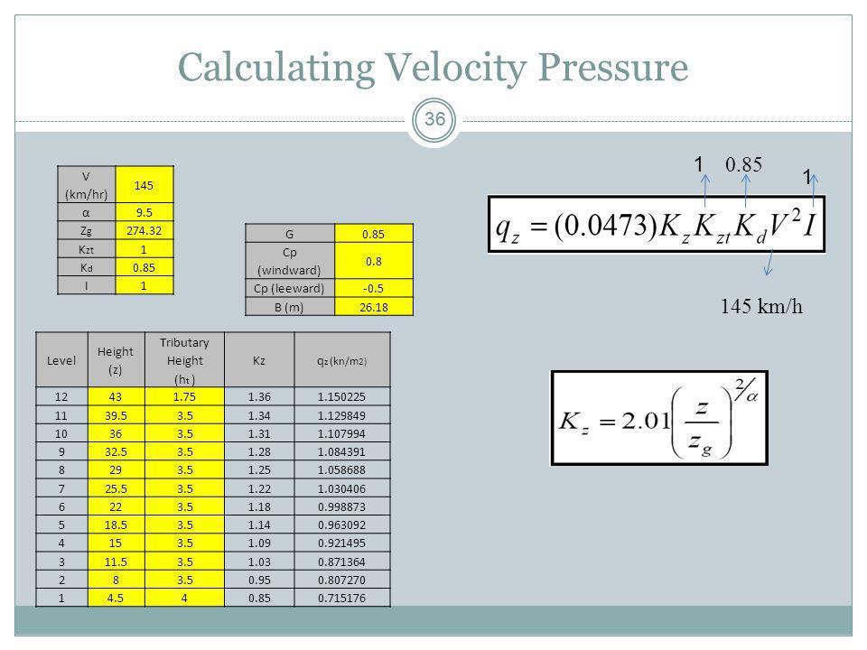 36 Calculating Velocity Pressure 145 km/h 0.85 1 1 V (km/hr) 145 α9.5 ZgZg 274.32 K zt 1 KdKd 0.85 I1 G Cp (windward) 0.8 Cp (leeward)-0.5 B (m)26.18