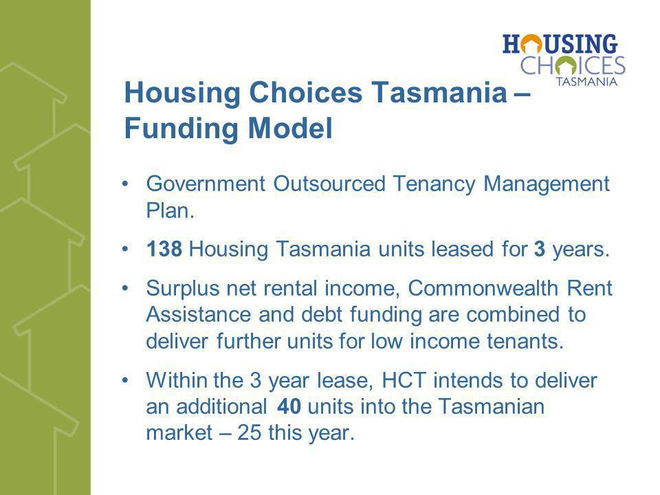 Housing Choices Tasmania – Funding Model Government Outsourced Tenancy Management Plan. 138 Housing Tasmania units leased for 3 years. Surplus net ren
