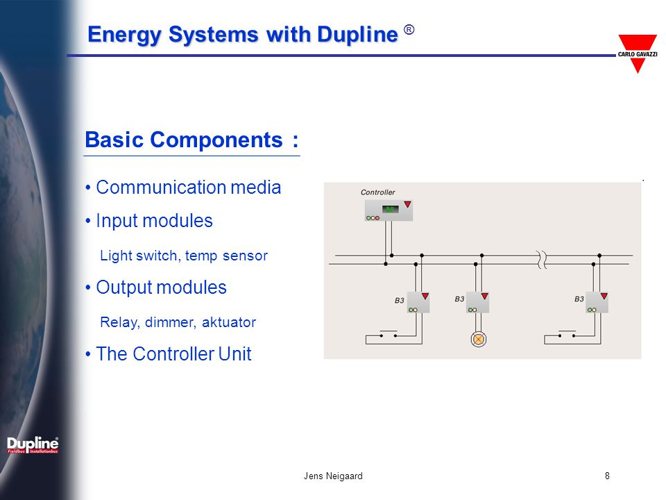 Energy Systems with Dupline Energy Systems with Dupline ® Jens Neigaard9 Dupline ASIC chip : The ASIC chip combines the latest technology with the bus experience gained by Carlo Gavazzi The Dupline ASIC do not need a costly transceiver circuit - only a few passive components to interface to the bus The small physical size makes it possible to design very compact modules with a very low power consumption