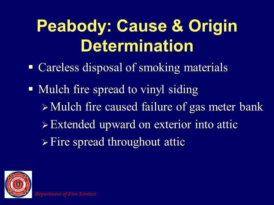 Peabody: Cause & Origin Determination Careless disposal of smoking materials Careless disposal of smoking materials Mulch fire spread to vinyl siding