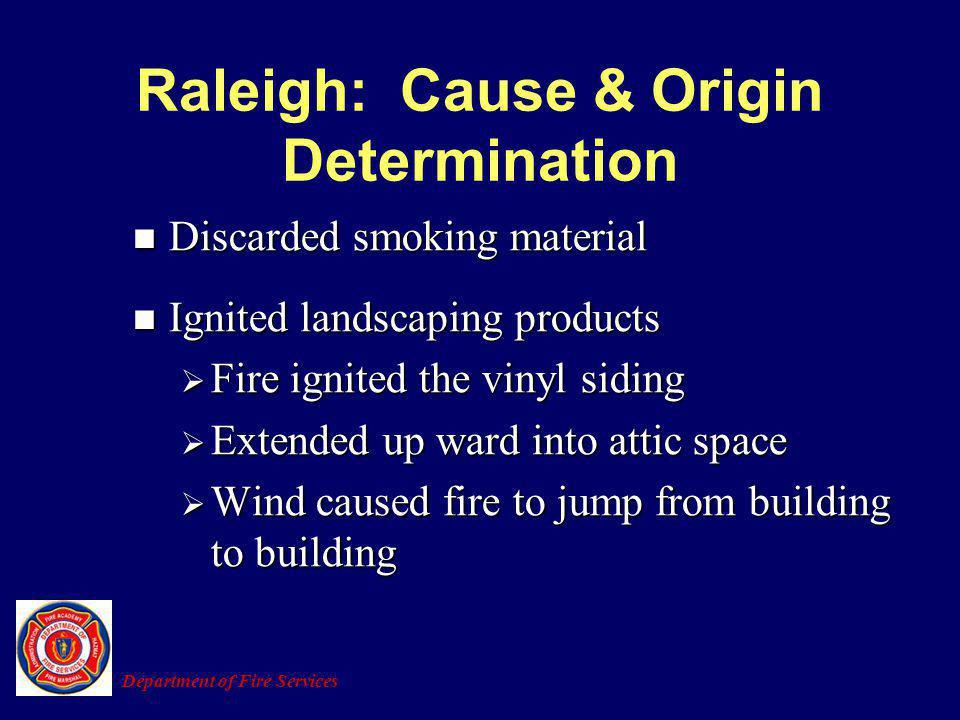 Raleigh: Cause & Origin Determination Discarded smoking material Discarded smoking material Ignited landscaping products Ignited landscaping products