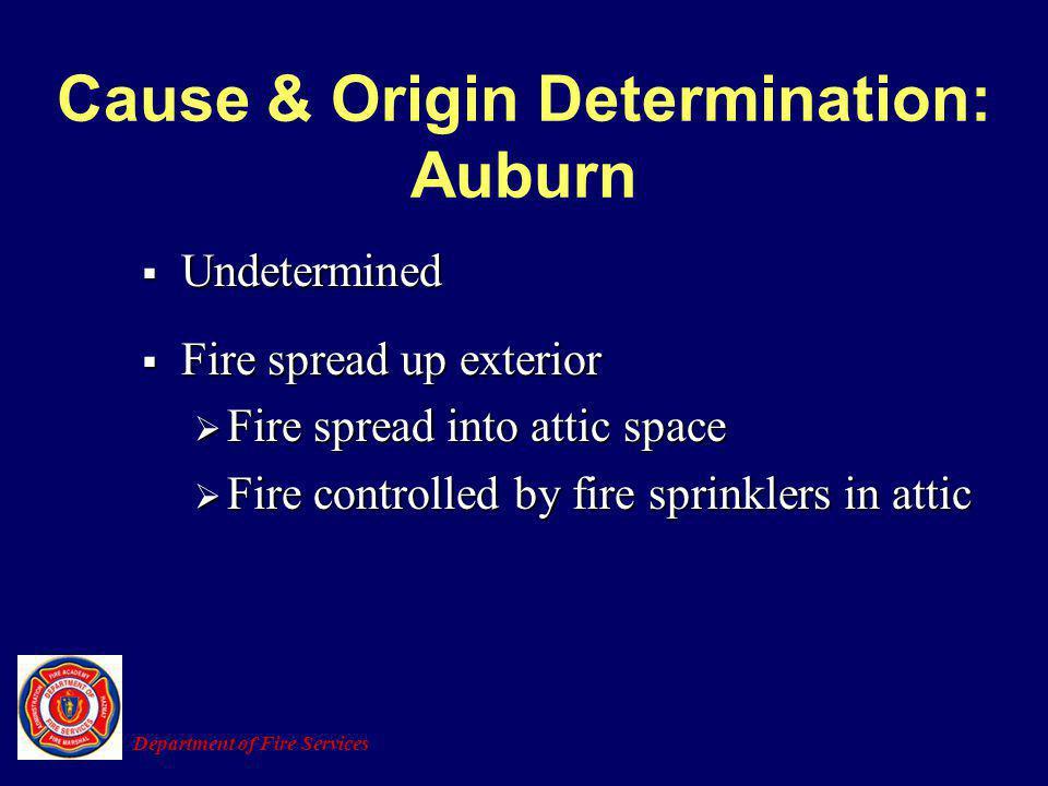 Cause & Origin Determination: Auburn Undetermined Undetermined Fire spread up exterior Fire spread up exterior Fire spread into attic space Fire sprea