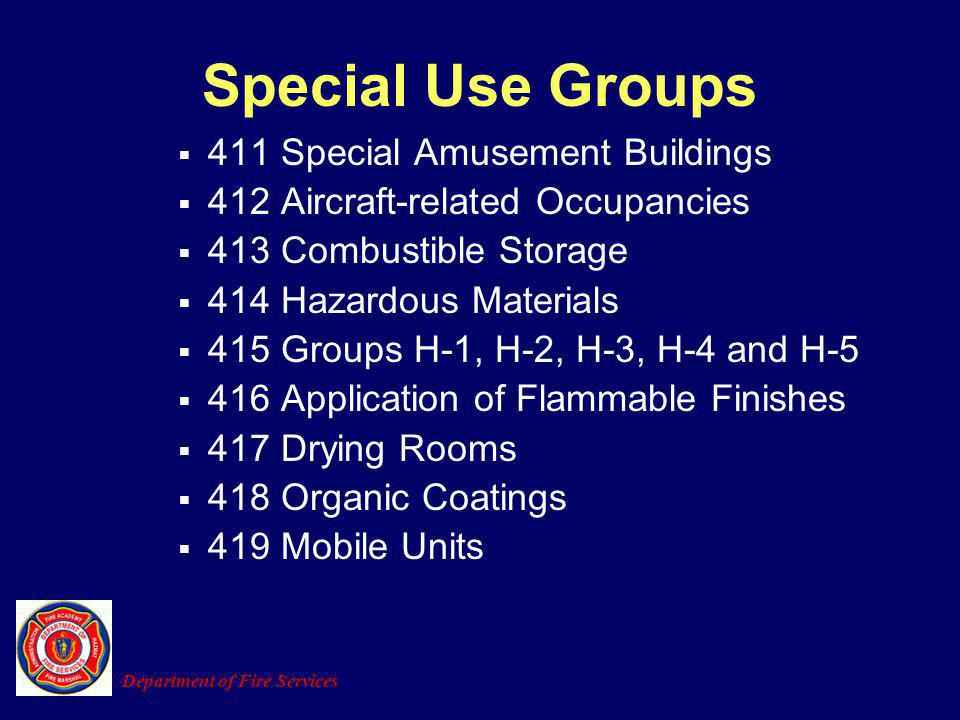 411 Special Amusement Buildings 412 Aircraft-related Occupancies 413 Combustible Storage 414 Hazardous Materials 415 Groups H-1, H-2, H-3, H-4 and H-5
