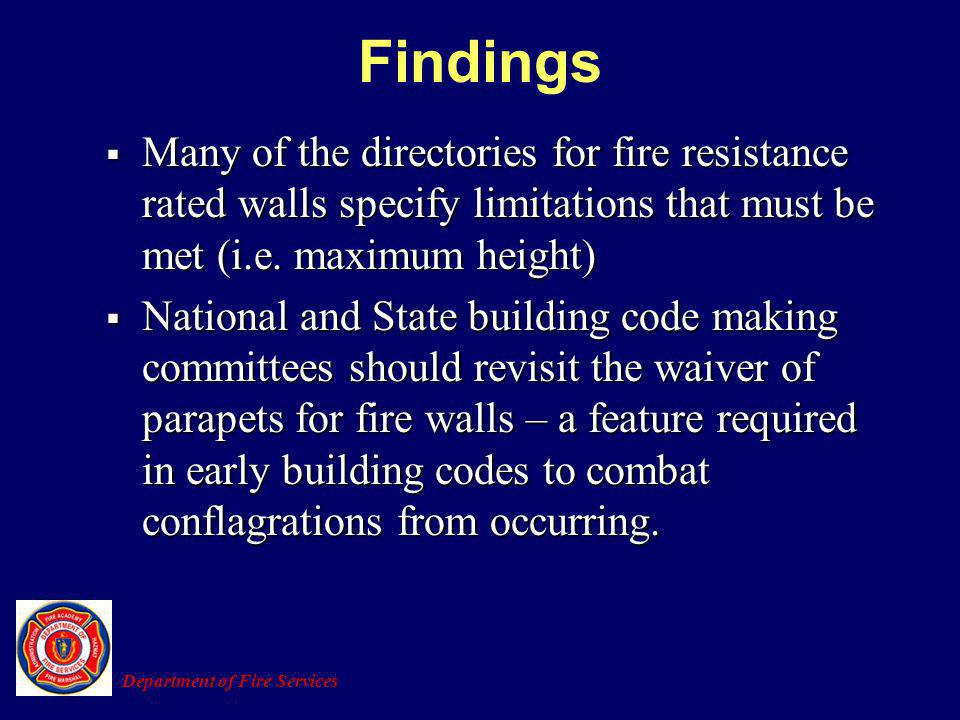 Many of the directories for fire resistance rated walls specify limitations that must be met (i.e. maximum height) Many of the directories for fire re