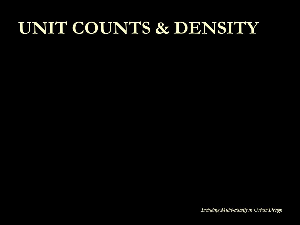 Including Multi-Family in Urban Design UNIT COUNTS & DENSITY
