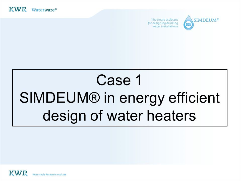 CONCLUSION sustainability in supply and drainage with SIMDEUM® SIMDEUM® reliable simulation of residential and non-residential cold and hot water demand patterns discharge characteristics: quantity, quality and temperature of wastewater SIMDEUM® to promote sustainability: 1.Energy efficient design: SIMDEUM based design rules reduce heater capacity with factor 2 to 4 2.Grey water recycling and rainwater harvesting: SIMDEUM assists in choice of storage capacities and continuous simulations 3.Recovery of energy and nutrients: SIMDEUM renders information on discharge characteristics SIMDEUM also for other countries, other buildings and scenario studies