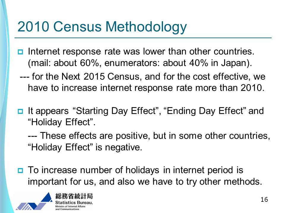 2010 Census Methodology Internet response rate was lower than other countries.