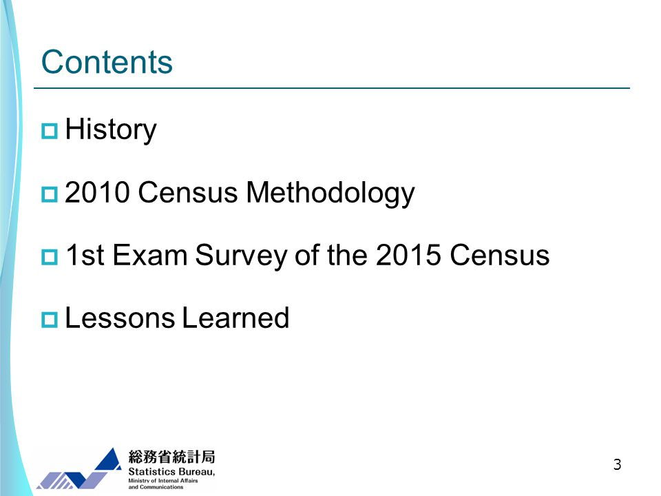 Contents History 2010 Census Methodology 1st Exam Survey of the 2015 Census Lessons Learned 3