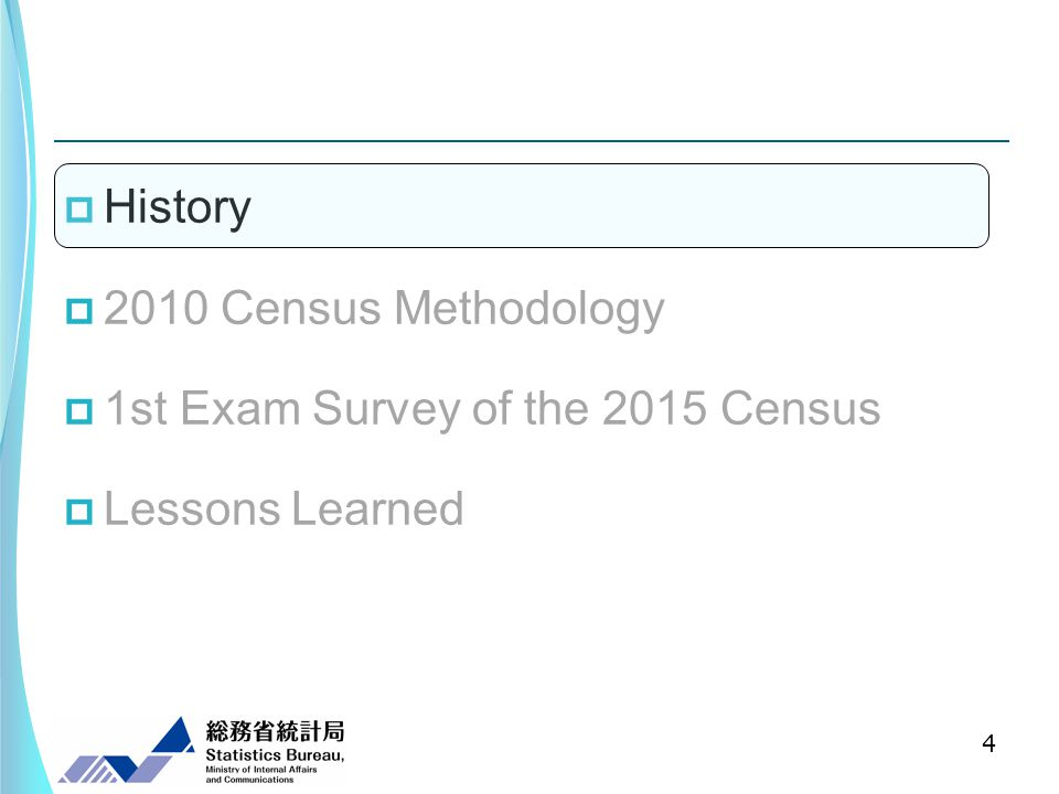 History 2010 Census Methodology 1st Exam Survey of the 2015 Census Lessons Learned 4