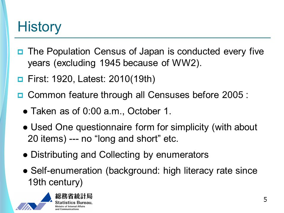 History The Population Census of Japan is conducted every five years (excluding 1945 because of WW2).