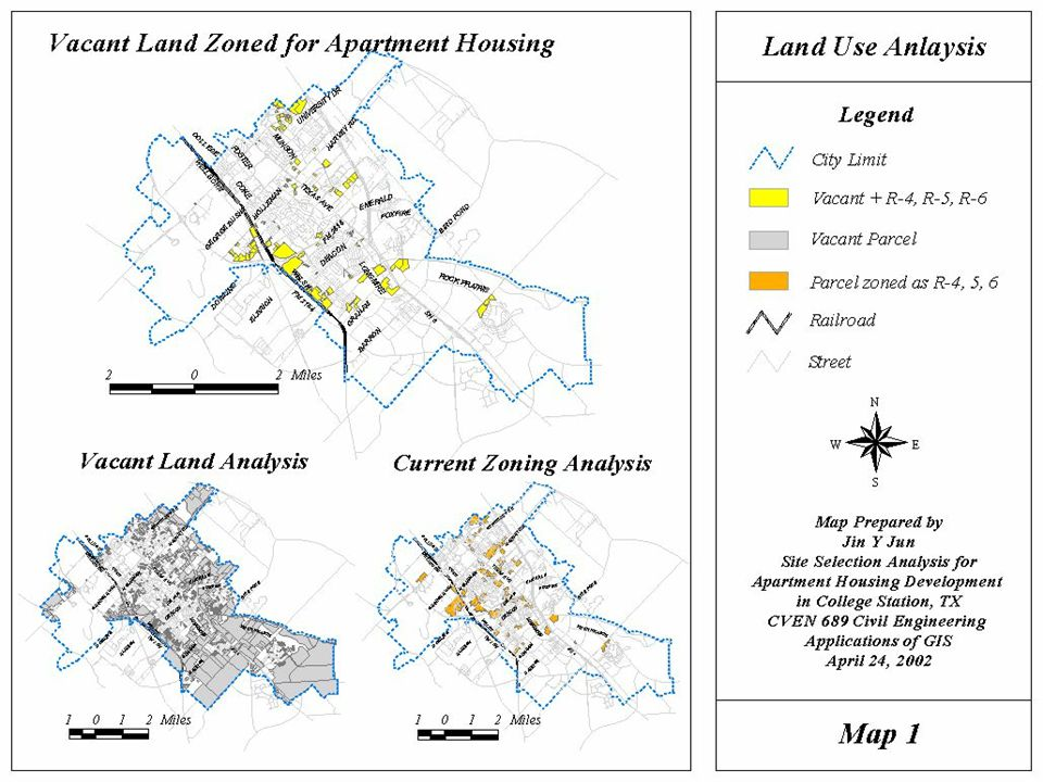Site Suitability Analysis for Apartment Housing Development in College Station, TX using a GIS Approach - 5 - GIS Analysis Analysis Criteria : Land use type: Vacant land Zoning classification: Apartment housing (R-4, R-5, R-6) Land Use Analysis Analysis Result : 169 parcels identified as vacant as well as zoned as R-4,5,6 Refer to the ArcView map layout on the next slide…