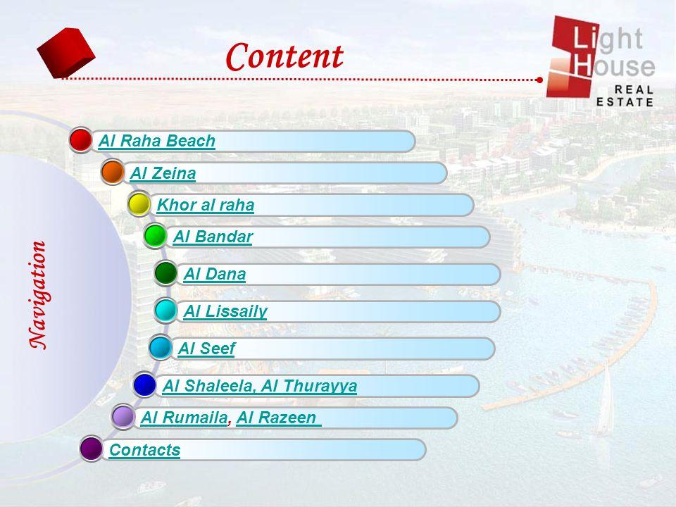 Al Raha Beach Al Zeina Khor al raha Al Bandar Al Dana Al Lissaily Al Seef Al Shaleela, Al Thurayya Al RumailaAl Rumaila, Al RazeenAl Razeen Contacts Content Navigation