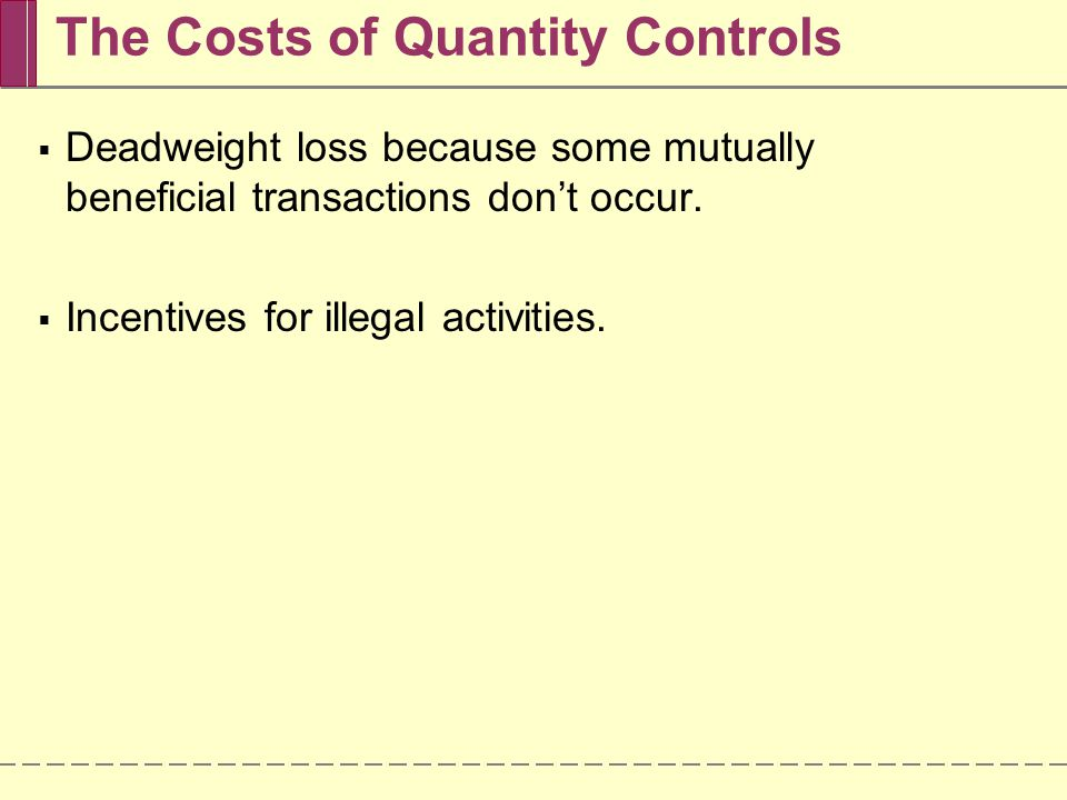The Costs of Quantity Controls Deadweight loss because some mutually beneficial transactions dont occur. Incentives for illegal activities.