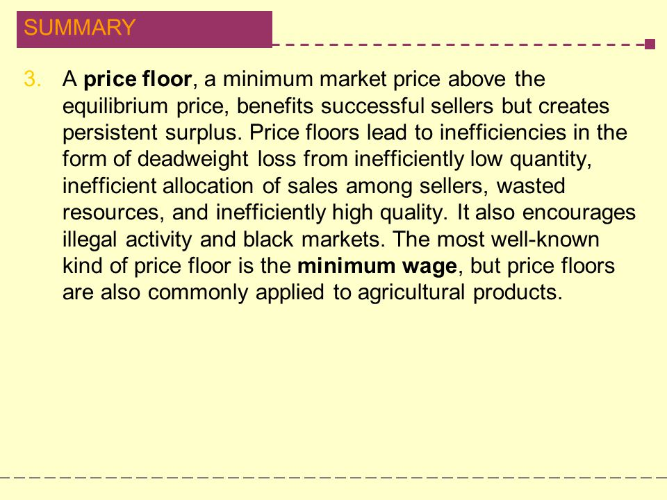 SUMMARY 3.A price floor, a minimum market price above the equilibrium price, benefits successful sellers but creates persistent surplus. Price floors