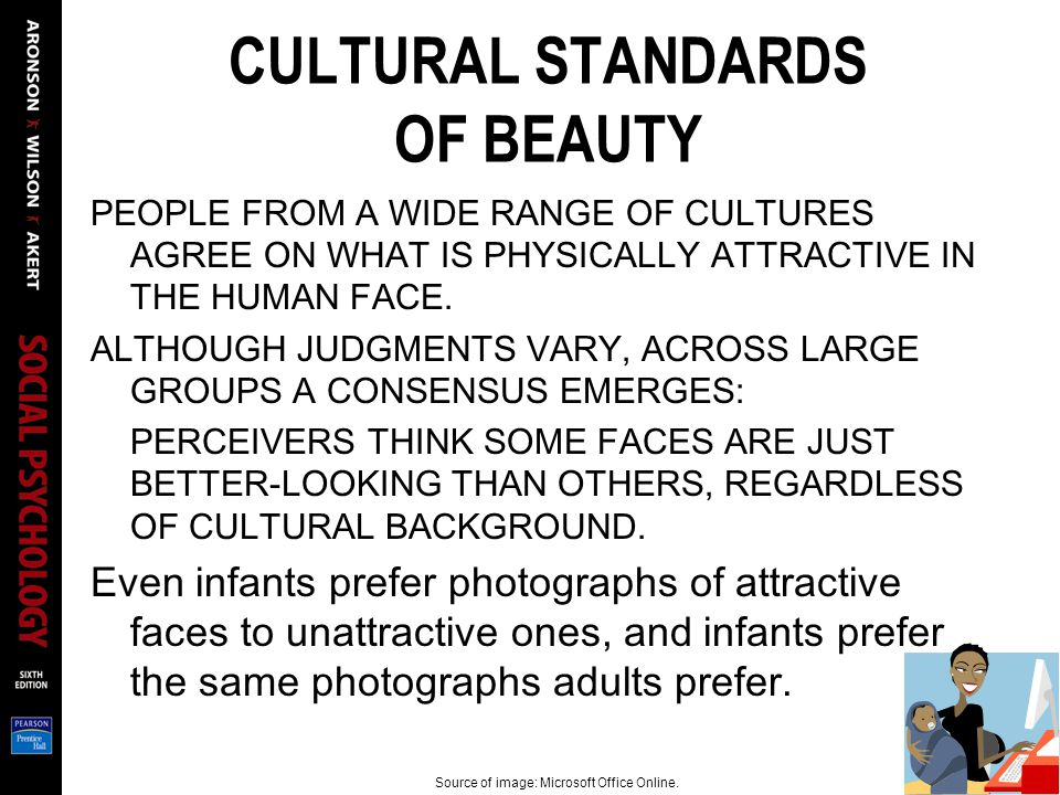 CULTURAL STANDARDS OF BEAUTY PEOPLE FROM A WIDE RANGE OF CULTURES AGREE ON WHAT IS PHYSICALLY ATTRACTIVE IN THE HUMAN FACE.