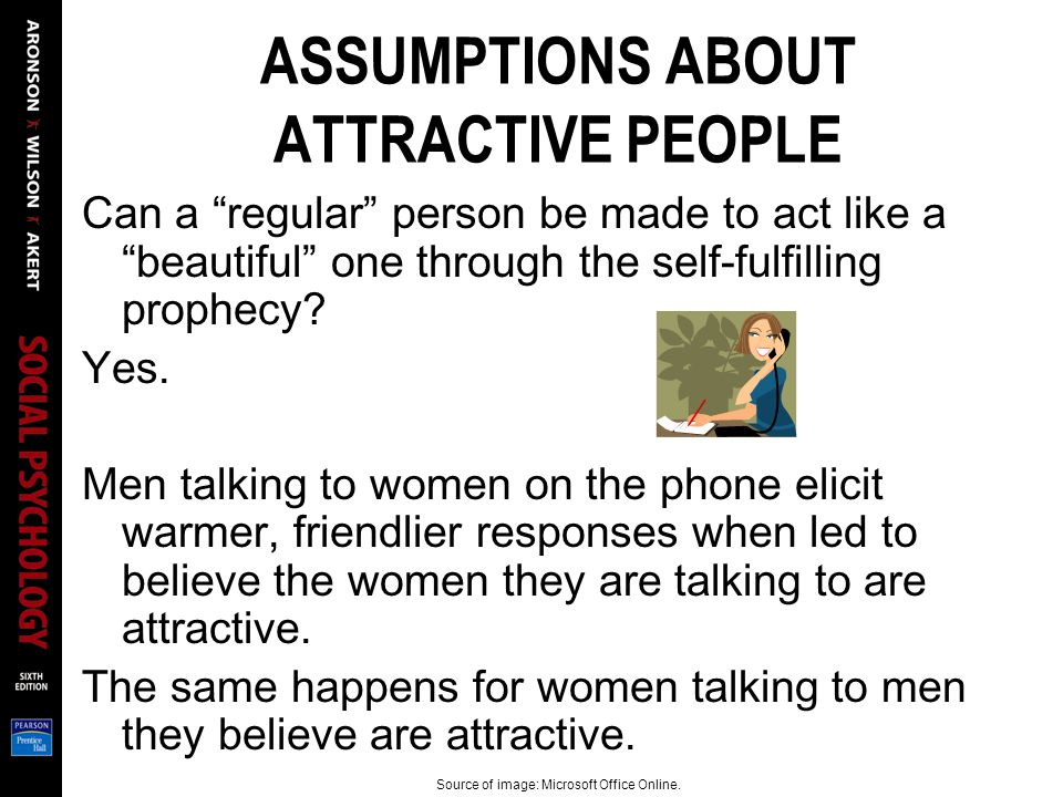 ASSUMPTIONS ABOUT ATTRACTIVE PEOPLE Can a regular person be made to act like a beautiful one through the self-fulfilling prophecy? Yes. Men talking to